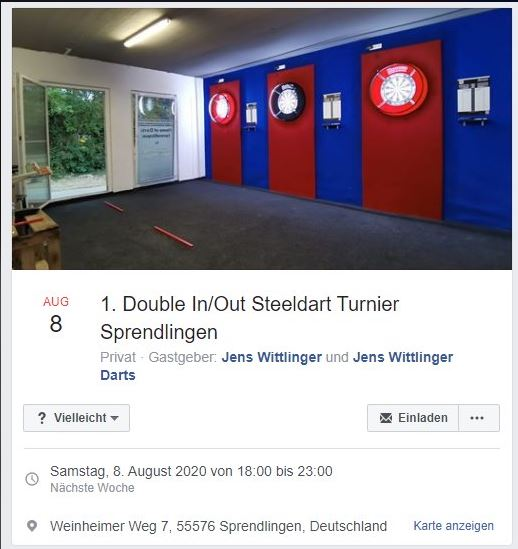 1. Double In/Out Steeldart Turnier Sprendlingen